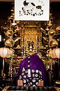 Shrine and head monk at temple Yochiin.