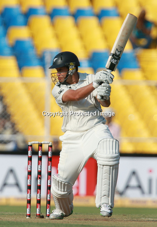New Zealand Batsman Ross Taylor Hit The Shot Against India During The India vs New Zealand 1st Test Match Day-2 Played at Sardar Patel Stadium, Motera, Ahmedabad 5, November 2010 (5-day match)
