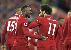 LIVERPOOL, ENGLAND - Friday, April 26, 2019: Liverpool's Naby Keita (L) celebrates scoring the first goal with team-mate Mohamed Salah during the FA Premier League match between Liverpool FC and Huddersfield Town AFC at Anfield. (Pic by David Rawcliffe/Propaganda)