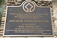 Plaque at Chaco Canyon NHS, New Mexico