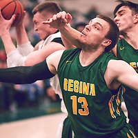2nd year forward, Carter Millar (13) of the Regina Cougars during the Men's Basketball Home Game on Sat Feb 02 at Centre for Kinesiology,Health and Sport. Credit: Arthur Ward/Arthur Images