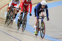 March 2, 2018 - Apeldoorn, Netherlands - Jennifer Valente (USA)  competes during the women's omnium during the UCI Track Cycling World Championships in Apeldoorn on March 2, 2018. (Credit Image: © Foto Olimpik/NurPhoto via ZUMA Press)