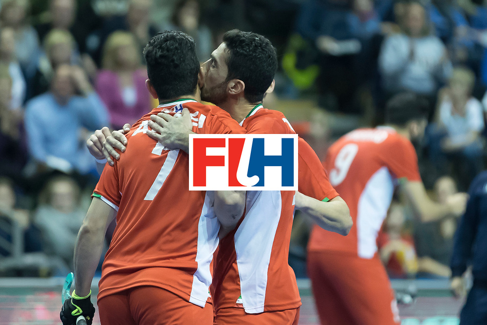 Hockey, Seizoen 2017-2018, 09-02-2018, Berlijn,  Max-Schmelling Halle, WK Zaalhockey 2018 MEN, Iran - Czech Republic 2-2 Iran Wins after shoutouts, Abbas Aroei scores a penalty