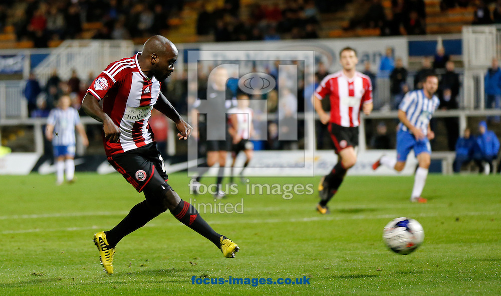 Jamal Campbell-Ryce of Sheffield United scoring during the Johnstone's Paint Trophy match at Victoria Park, Hartlepool<br /> Picture by Simon Moore/Focus Images Ltd 07807 671782<br /> 07/10/2014