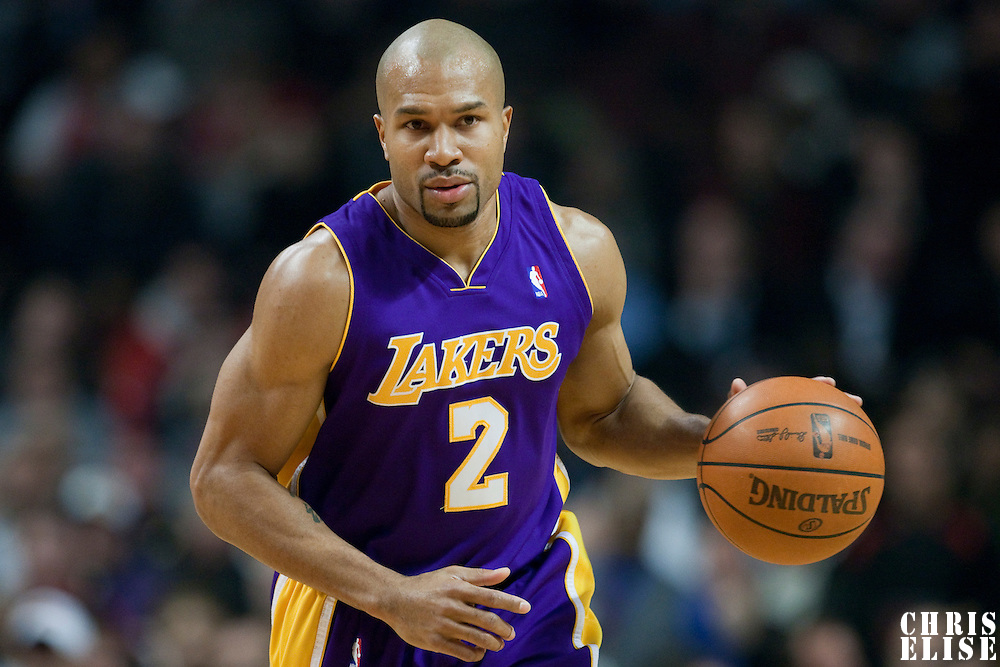 15 December 2009: Los Angeles Lakers guard Derek Fisher brings the ball upcourt during the Los Angeles Lakers 96-87 victory over the Chicago Bulls at the United Center, in Chicago, Illinois, USA.