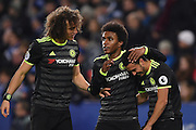 Chelsea defender David Luiz (30), Chelsea midfielder Willian (22) and Chelsea midfielder Pedro (11) celebrates after scoring a goal to make it scores a goal to make it 0-3 during the Premier League match between Leicester City and Chelsea at the King Power Stadium, Leicester, England on 14 January 2017. Photo by Jon Hobley.