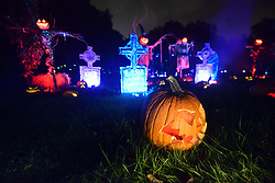 October 5, 2018 - Philadelphia, Pennsylvania, United States - Large illuminated jack-o'-lantern display made of pumpkins, in Philadelphia, PA, on October 5, 2018. Visitors enjoy popular themes on display, carved out of five-thousand illuminated pumpkins. (Credit Image: © Bastiaan Slabbers/NurPhoto/ZUMA Press)