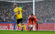 Luke Daniels of Scunthorpe United collects a Chelsea shot during the The FA Cup match between Chelsea and Scunthorpe United at Stamford Bridge, London, England on 10 January 2016. Photo by Ken Sparks.