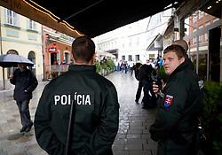 Slovakian police when Slovenian fans celebrate in the Bratislava's streets before FIFA World Cup Qualifications match between Slovakia and Slovenia, on October 10, 2009, near Tehelne Pole Stadium, Bratislava, Slovakia.  (Photo by Vid Ponikvar / Sportida)