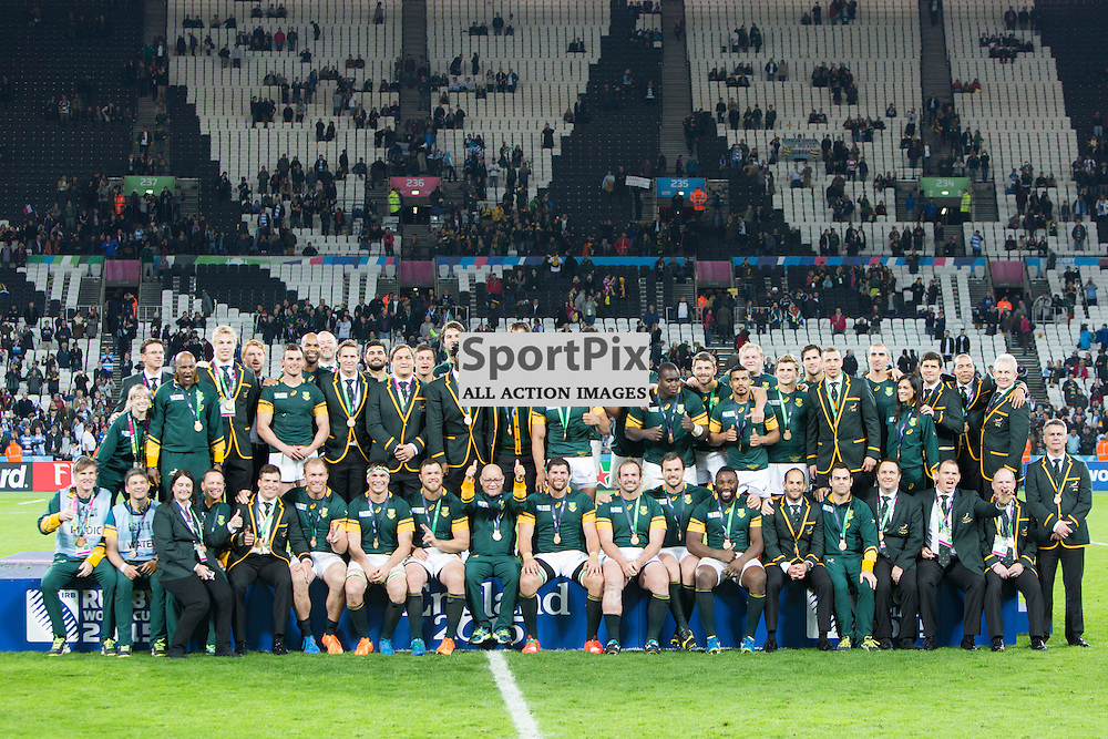 LONDON, ENGLAND - OCTOBER 30: South Africa team photo after the 2015 Rugby World Cup Bronze final match between South Africa and Argentina at The Olympic Stadium on October 30, 2015 in London, England. (Credit: SAM TODD | SportPix.org.uk)