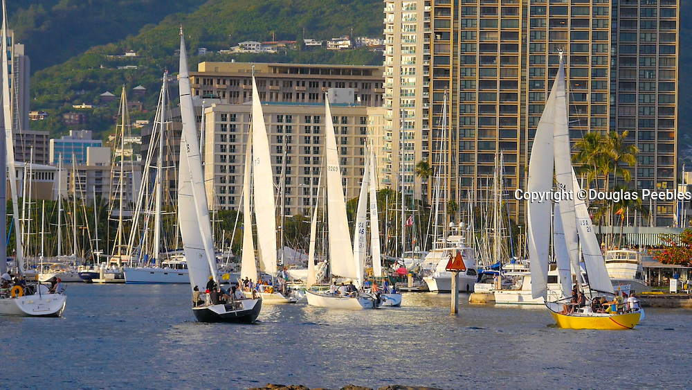 Sailboat race, Ala Wai, Harbor, Magic Island, Ala Moana Beach Park, Waikiki, Honolulu, Oahu, Hawaii