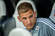 Marc Albrighton (#11) of Leicester City on the bench before the EFL Cup match between Newcastle United and Leicester City at St. James's Park, Newcastle, England on 28 August 2019.