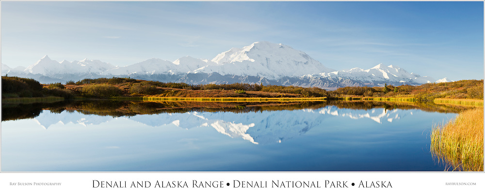 Composite panorama of Denali (Mt. McKinley) and the Alaska Range reflected in Reflection Pond near Wonder Lake on this rare sunny day in Denali National Park in late fall in Southcentral Alaska. Morning.