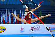 Veronica Bertolini during qualifying at ribbon in Pesaro World Cup 11 April, 2015.<br /> Veronica was born in Sondrio October 19, 1995, she is an individual gymnast of the Italian team.