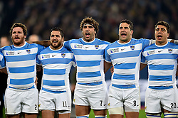 Julian Montoya, Horacio Agulla, Juan Martin Fernandez Lobbe, Juan Manuel Leguizamon and Facundo Isa of Argentina sing their national anthem - Mandatory byline: Patrick Khachfe/JMP - 07966 386802 - 30/10/2015 - RUGBY UNION - The Stadium, Queen Elizabeth Olympic Park - London, England - South Africa v Argentina - Rugby World Cup 2015 Bronze Final.