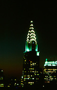 The Chrysler skyscraper at night, New York City, USA