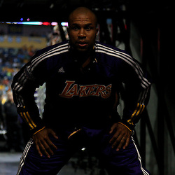 April 24, 2011; New Orleans, LA, USA;Los Angeles Lakers point guard Derek Fisher (2) in the tunnel before tip off of game four of the first round of the 2011 NBA playoffs against the New Orleans Hornets at the New Orleans Arena.    Mandatory Credit: Derick E. Hingle