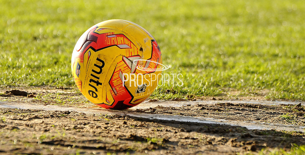 The Mitre winter ball still being used during the Sky Bet League 2 match between Portsmouth and Southend United at Fratton Park, Portsmouth, England on 24 January 2015. Photo by Michael Hulf.