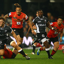 DURBAN, SOUTH AFRICA - JULY 15:  Andre Esterhuizen of the Cell C Sharks looks to off load during the Super Rugby match between the Cell C Sharks and Sunwolves at Growthpoint Kings Park on July 15, 2016 in Durban, South Africa. (Photo by Steve Haag/Gallo Images)
