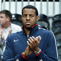 07 August 2012: USA Andre Iguodala is seen courtside watching the 91-48 Team USA victory over Team Canada, during the women's basketball quarter-finals, at the Basketball Arena, in London, Great Britain.