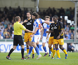 Bristol Rovers' John-Joe OToole is booked - Photo mandatory by-line: Joe Meredith/JMP - Mobile: 07966 386802 03/05/2014 - SPORT - FOOTBALL - Bristol - Memorial Stadium - Bristol Rovers v Mansfield - Sky Bet League Two