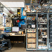 BICEP3 computers and telescope in the Dark Sector Laboratory, South Pole.
