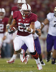 September 26, 2009; Stanford, CA, USA;  Stanford Cardinal running back Tyler Gaffney (25) rushes against the Washington Huskies in the fourth quarter at Stanford Stadium. Stanford won 34-14.