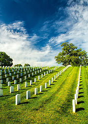 Sunshine basks the graves under midday sun at Jefferson Barracks National Cemetery