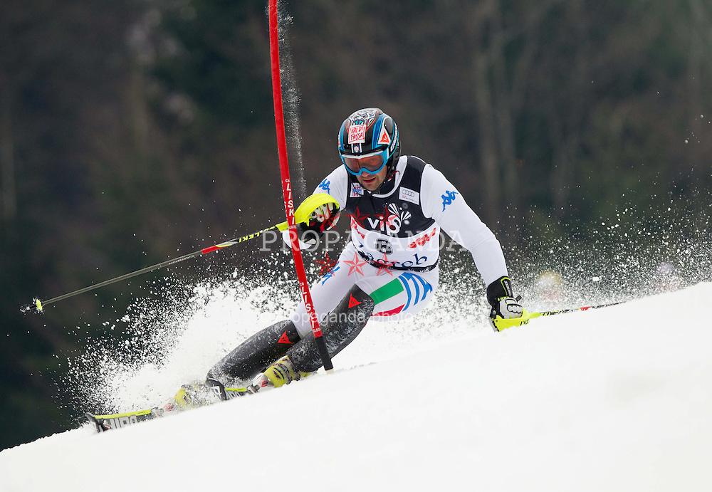 05.01.2012, Crveni Spust, Sljeme, CRO, FIS Weltcup Ski Alpin, Zagreb, Herren Slalom 1. Durchgang, im Bild DEVILLE Cristian (ITA) // during Mens Slalom race 1st run of FIS Ski Alpine World Cup at 'Crveni Spust' course in Sljeme, Zagreb, Croatia on 2012/01/05. EXPA Pictures © 2012, PhotoCredit: EXPA/ Sportida/ Vid Ponikvar..***** ATTENTION - OUT OF SLO *****