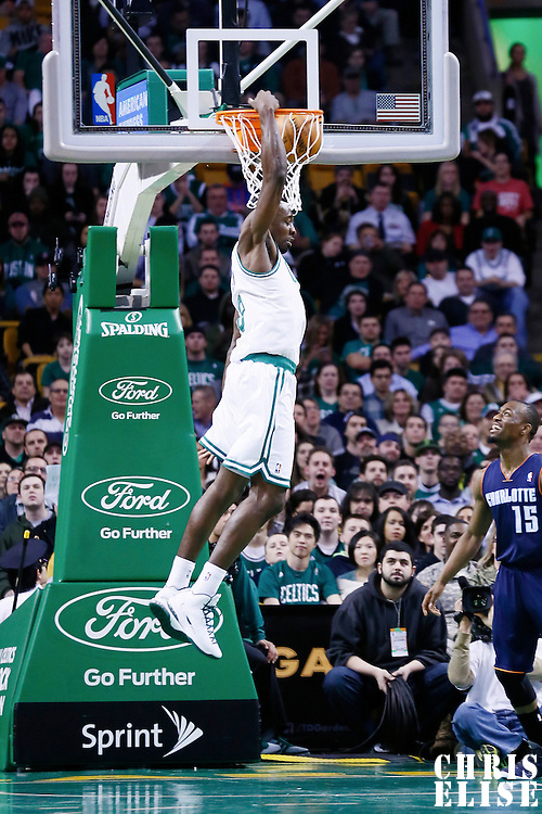 14 January 2013: Boston Celtics power forward Jeff Green (8) dunks the ball during the Boston Celtics 100-89 victory over the Charlotte Bobcats at the TD Garden, Boston, Massachusetts, USA.