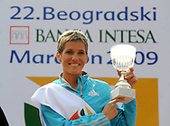 ATLETIKA, Beograd, 18. Apr. 2009. - Srpska atleticarka Olivera Jevtic pobedila je u polumaratonskoj trci na 22. Beogradskom maratonu. FOTO NENAD NEGOVANOVIC