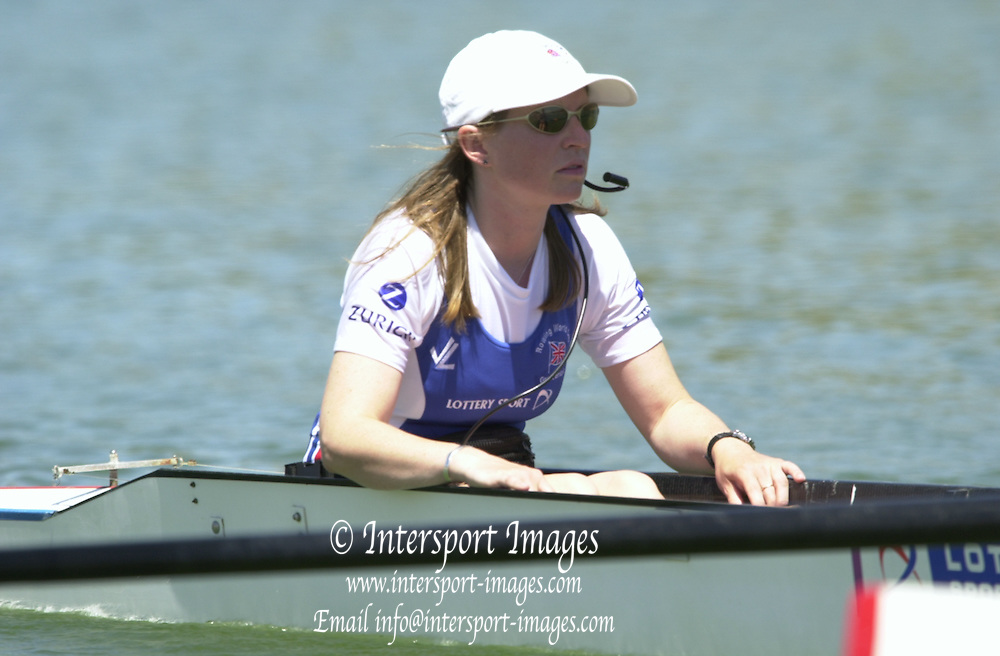 Peter Spurrier Sports  Photo.email pictures@rowingpics.com.Tel 44 (0) 7973 819 551.Tel/Fax 44 (0) 1784 440 772.Photo Peter Spurrier..2nd Rd FISA World Cup Seville. Day 3..GBR W8+ cox Charlotte Miller. 20010515 FISA World Cup, Seville, SPAIN