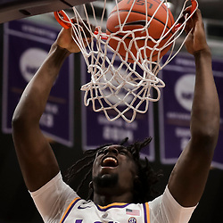 Jan 19, 2019; Baton Rouge, LA, USA; LSU Tigers forward Naz Reid (0) dunks against the South Carolina Gamecocks during the first half at the Maravich Assembly Center. Mandatory Credit: Derick E. Hingle-USA TODAY Sports