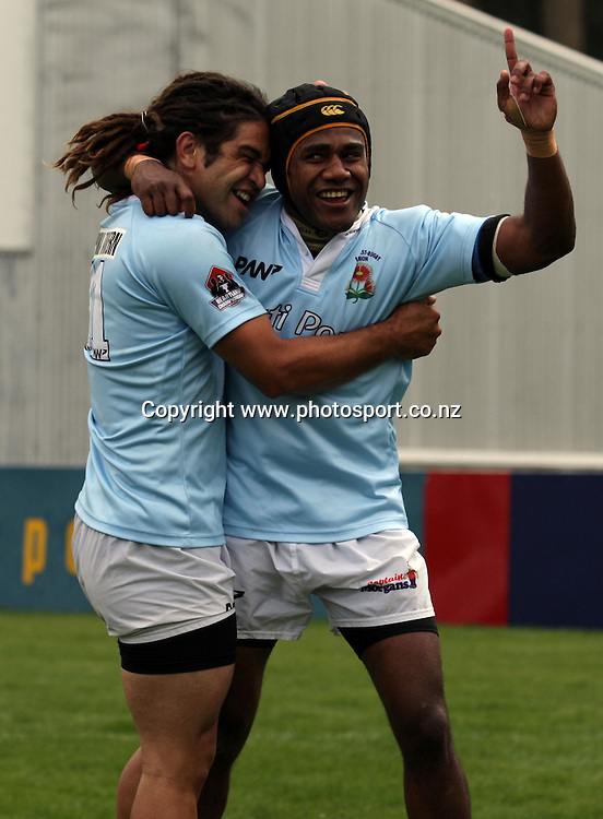 Sikelia Vorenasu celebrates scoring the winning try for East Coast.<br /> Heartland Championship - Meads Cup Semi-Final - North Otago v East Coast, 1 October 2011, Whitestone Contracting Stadium, Oamaru, New Zealand.<br /> Photo: Rob Jefferies/PHOTOSPORT