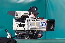 Nov 27, 2011; Oakland, CA, USA; A Fox sports cameraman on the sidelines before the game between the Oakland Raiders and the Chicago Bears at O.co Coliseum. Oakland defeated Chicago 25-20. Mandatory Credit: Jason O. Watson-US PRESSWIRE