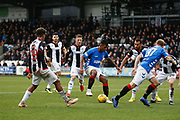 Alfredo Morelos of Rangers tries to get the ball under contol in the box during the Ladbrokes Scottish Premiership match between St Mirren and Rangers at the Simple Digital Arena, Paisley, Scotland on 3 November 2018.