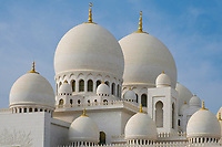UNITED ARAB EMIRATES, ABU DHABI - CIRCA JANUARY 2017: View of the domes and cupolas  of the Sheikh Zayed Mosque
