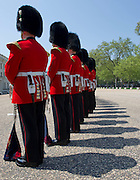Picture shows the massed trumpeters of seven different military units.<br /> The world record for the longest line of fanfare trumpeters was broken today at Wellington Barracks, made up of seven different military units, decking full ceremonial uniform.<br /> The succesful record attempt was mounted by Victoria Business Improvement District (VBID) to mark the run up to the Queen's Diamond Jubilee. 22/05/2012.<br /> <br /> Picture by Trooper Mark Larner, RY.