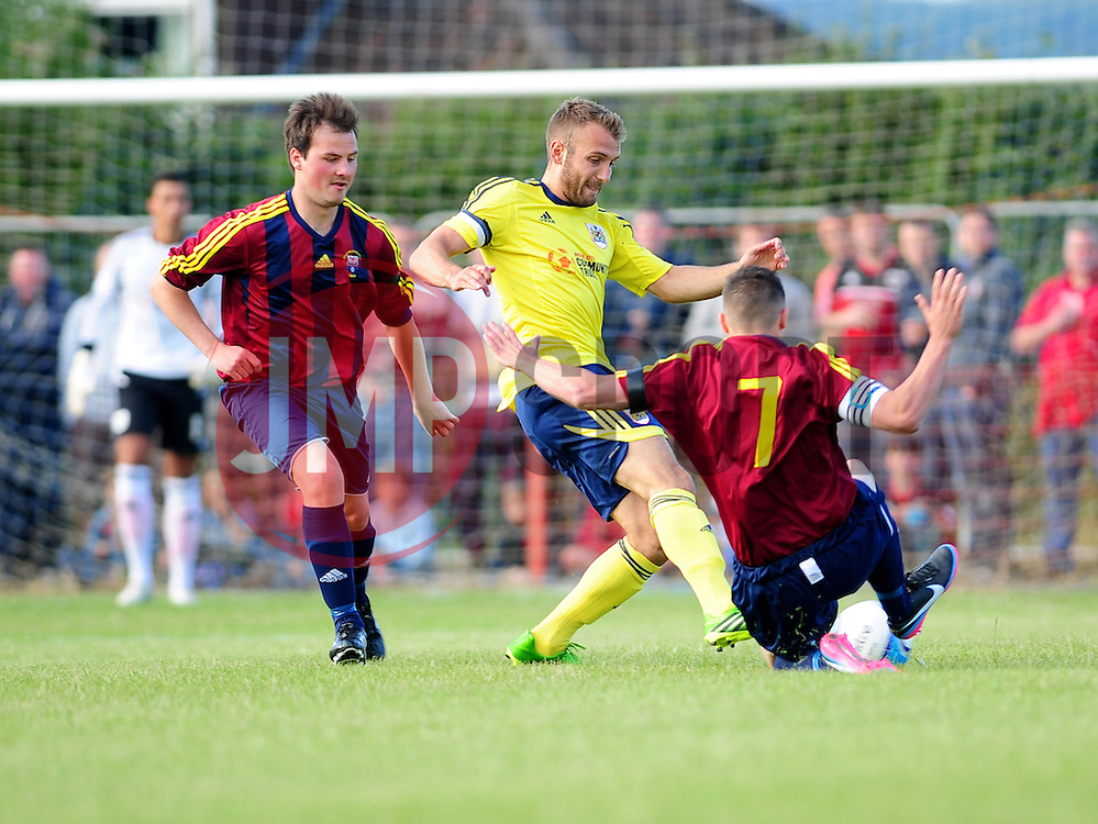 Bristol City's Liam Kelly is tackled - Photo mandatory by-line: Dougie Allward/JMP - Tel: Mobile: 07966 386802 03/07/2013 - SPORT - FOOTBALL - Bristol -  Ashton and Backwell United V Bristol City - Pre Season Friendly