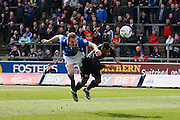 Mansfield Town midfielder Reggie Lambe heads the shot during the Sky Bet League 2 match between Carlisle United and Mansfield Town at Brunton Park, Carlisle, England on 9 April 2016. Photo by Craig McAllister.