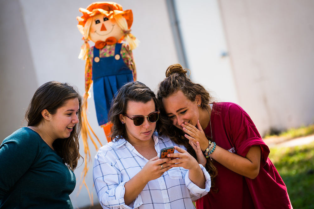 SARASOTA, FL -- August 19, 2016 -- Students decorate pumpkins during the pumpkins festival at the Counseling and Wellness Center at New College of Florida in Sarasota, Florida. (PHOTO / New College of Florida, Chip Litherland)