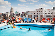 Tourists at swiming pool in Hotel, Havana- Cuba
