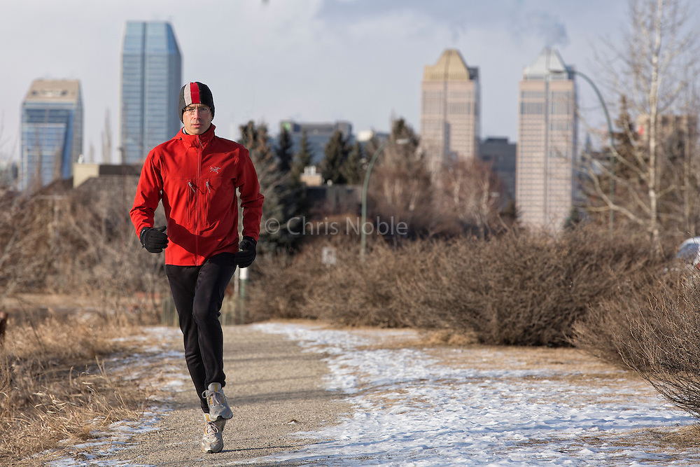 Alpinist Raphael Slawinski running in Calgary's Stanley Park as part of his training regimen for an upcoming attempt to climb a new route on Everest.