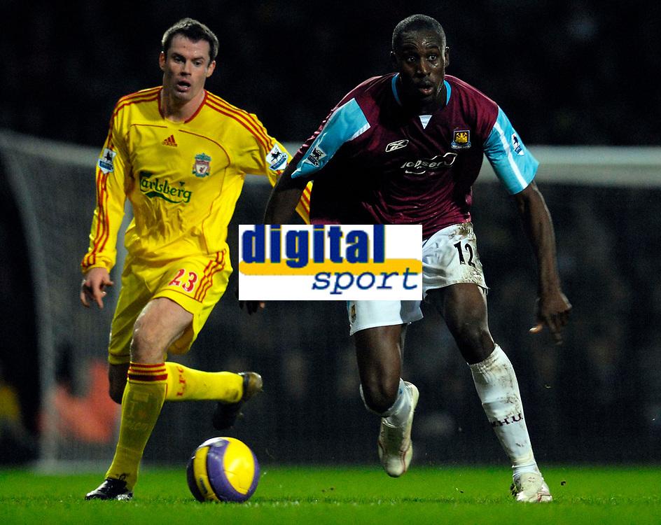 Photo: Alan Crowhurst.<br />West Ham v Liverpool. The Barclays Premiership. 30/01/07. West Ham's Carlton Cole on the ball.