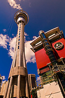 The 328 meter high Sky Tower (the tallest free-standing structure in the Southern Hemisphere), Sky City, Central Business District, Auckland, New Zealand