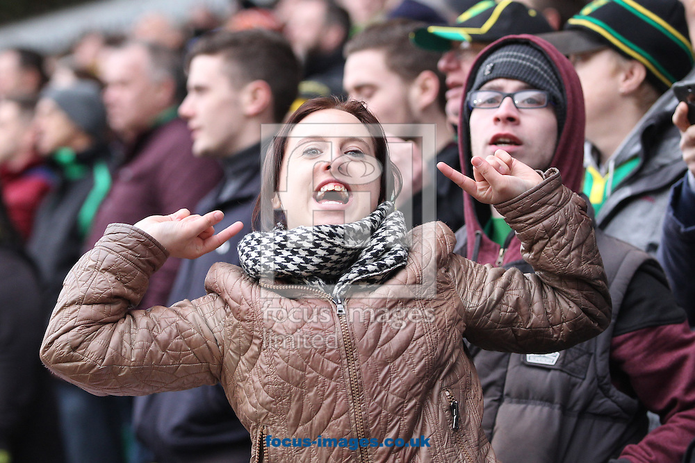 The Norwich fans celebrate their side's 2nd goal during the Sky Bet Championship match at Carrow Road, Norwich<br /> Picture by Paul Chesterton/Focus Images Ltd +44 7904 640267<br /> 21/03/2015