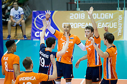 Players of The Netherlands during volleyball match between national teams of Slovenia and Netherlands of 2018 CEV volleyball Godlen European League, on June 6, 2018 in Arena Bonifika, Koper, Slovenia. Photo by Urban Urbanc / Sportida