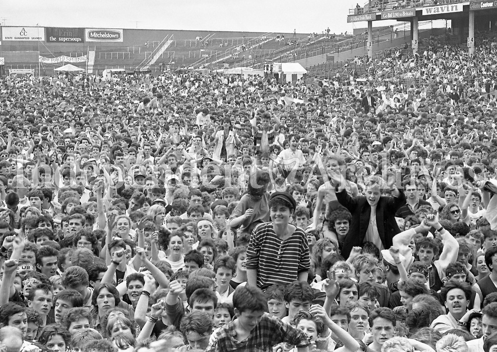 687-643<br /> U2 - The Joshua Tree Tour, 2nd leg: Europe.<br /> Croke Park, Dublin, June 1987.<br /> View of fans/audience.<br /> Support Acts June 27 1987: Light A Big Fire, The Dubliners, The Pogues, Lou Reed.<br /> Support Acts June 28 1987: Christy Moore, The Pretenders, Lou Reed, Hothouse Flowers.<br /> (Part of the Independent Newspapers Ireland/NLI collection.)