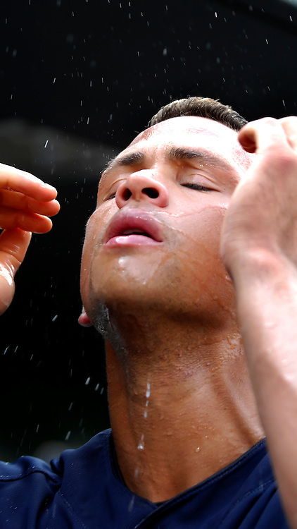 28 July 2007:  New York Yankees third baseman Alex Rodriguez splashes water on his face after batting practice prior to the game with the Baltimore Orioles.  The Orioles defeated the Yankees 7-5 at Camden Yards in Baltimore, MD.