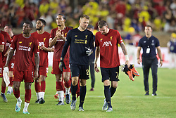 SOUTH BEND, INDIANA, USA - Friday, July 19, 2019: Liverpool's goalkeeper Simon Mignolet and goalkeeper Andy Lonergan after a friendly match between Liverpool FC and Borussia Dortmund at the Notre Dame Stadium on day four of the club's pre-season tour of America. Dortmund won 3-2. (Pic by David Rawcliffe/Propaganda)